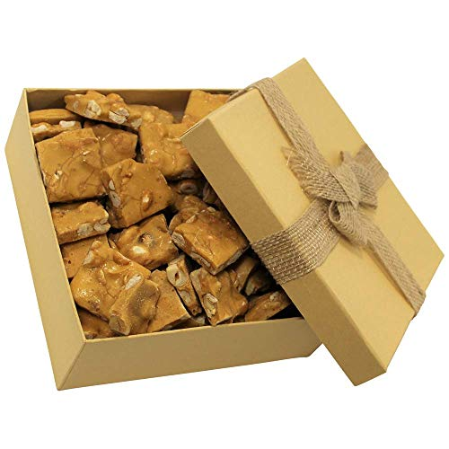 Gourmet Peanut Brittle Gift Box - by It's Delish | Handmade Old-Fashioned Style | Beautiful & Delicious Square Cut Pieces 16 Oz | Fathers Day Birthday Anniversary Hostess Valentines Day Gift
