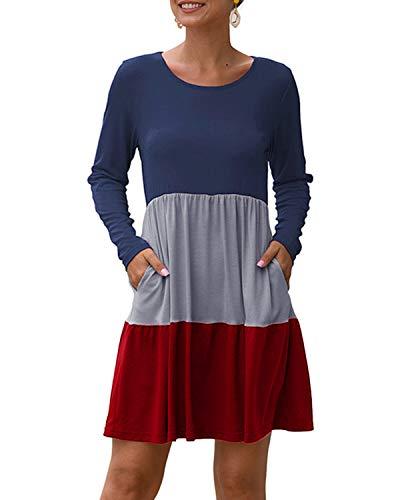 YOINS Damen Kleider Sommer Tshirtkleid für Damen Kleider Knielang Tunika Winterkleid V-Ausschnitt Elegant Brautkleid,Multi-rot,XL