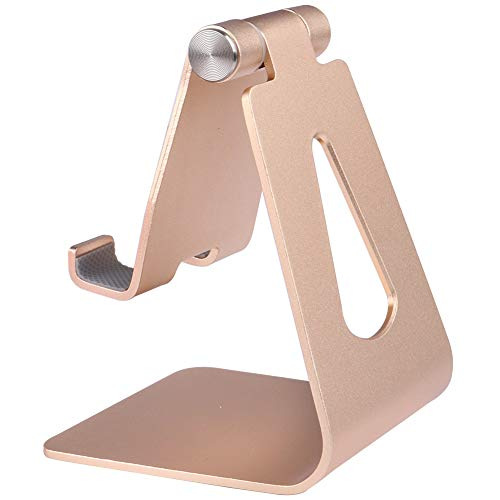 Adjustable Cell Phone Aluminum Alloy Stand Compatible with All Mobile Smart Phone,Heavy Duty But Elegant, High End Look (Gold)