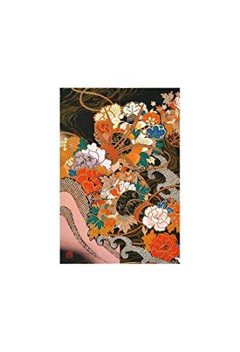『AAP35-1707 和風グリーティングカード/むねかた 金箔 重ね折 「花鼓」(中紙・封筒付) 金箔押し 再生紙』の2枚目の画像