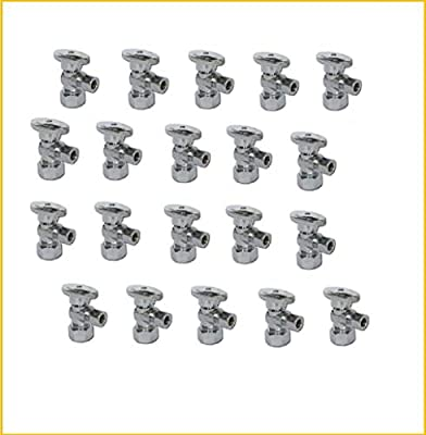 """1/2-in Nominal (5/8"""" OD Comp) x 3/8-in OD Outlet Chrome Plated Brass 1/4-Turn Angle Stop Shutoff Ball Valve (20-Pack) by TALENT INTERNATIONAL TRADING"""
