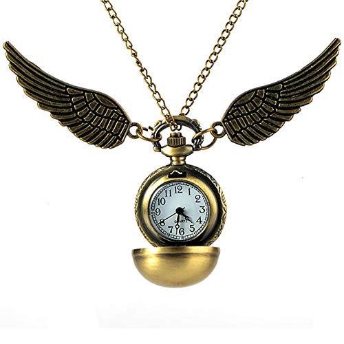J-Love Antiguo Reloj de Bolsillo de Cuarzo con alas de ángel Dorado, Encantador Reloj Vintage para Hombres y Mujeres, Reloj con Colgante de Bola de Snitch, Reloj con Cadena