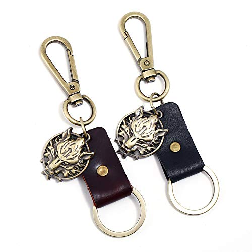 2 Keychain Set Simple Retro Alloy Wolf Head Leather Car Key Chain Bag Accessories Pendant Exquisite Fashion Keyrings for Women Personalised Durable