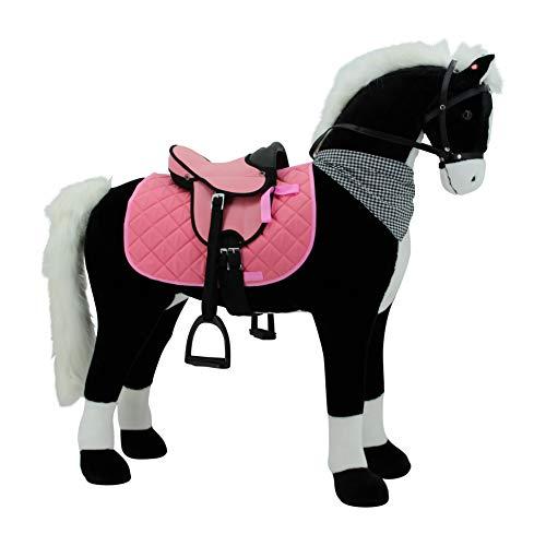 Sweety Toys 11070 Plüsch Pferd XXL Giant Riesen Stehpferd Reitpferd Black Giant Größe ca.125 cm Kopfhöhe bis 100 kg belastbar, Farbe schwarz mit weisser Mähne und weissem Schweif mit Sattel