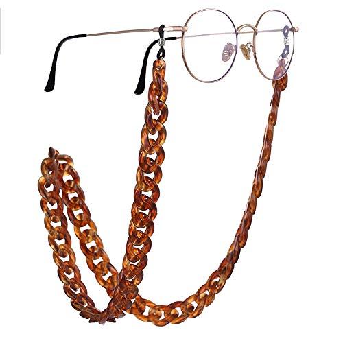 PIPJOY Moda Twist Link Acrílico Cadena De Gafas De Sol Textura Mármol Titular Gafas Retenedor Correa Para Mujeres, Marrón, Large