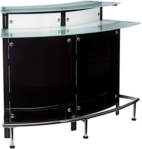 Arched 1-shelf Bar Unit with Glass Counter Tops Glossy Black, Chrome, Frosted and Clear