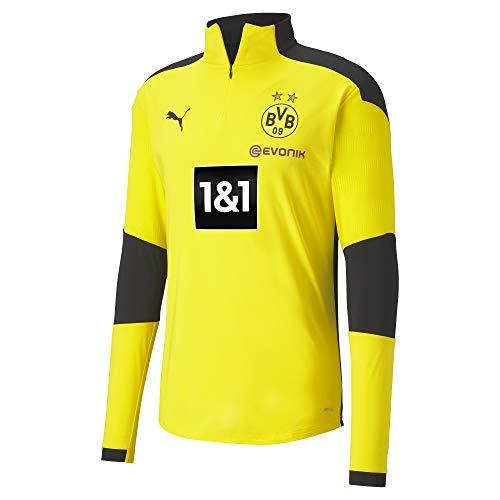 PUMA Herren T-Shirt BVB Training 1/4 Zip Top New, Cyber Yellow-Puma Black, S, 931121