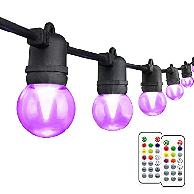 48FT RGB Outdoor String Lights, Dimmable Colored LED String Light, with 15+3 G45 Edison Bulbs Dimmable, 2 Remote Controls, Waterproof & Shatterproof for Patio, Cafe, Backyard and Garden