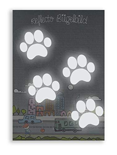 reflecto Bügelbild - 15 Verschiedene Motive zur Auswahl (u.a. Tiere, Teddy, Weltall, Herzen) - Silber (weiß reflektierend) - zum Aufbügeln - aus 3M™ Scotchlite™ Material (Tatzen)