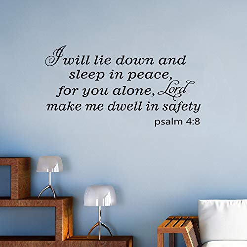 """VODOE Wall Decals for Bedroom, Christian Wall Decal, Quotes Scripture Bible Verse Religious Living Room Family Home Art Decor Vinyl Stickers I Will Lie Down and Sleep in Peace for You Alone 21""""x11"""""""