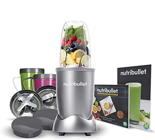 NutriBullet 600W hellgrau – Mixer mit Extraktor-Klinge macht Superfood aus einfachen Lebensmitteln – Power Standmixer für den täglichen Vitaminkick – 12tlg.
