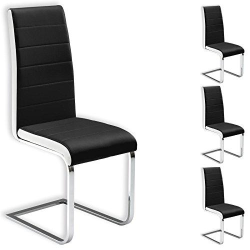IDIMEX Lot de 4 chaises de Salle à Manger Evelyn piètement chromé revêtement synthétique Noir et Blanc