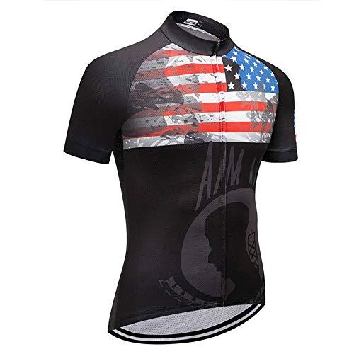 Maillot Ciclismo Hombre - Manga Corta Verano EE.UU. Serie Racing Cycle Top Riding Camisa Ropa De Bicicleta con Maillot De Bicicleta Seca Rápida para Ciclismo De Montaña De Carretera Y Ropa Deportiv