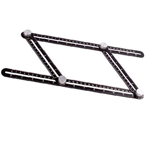 EVFIT Regla de Buscador de ángulos Doce Regla Plegable Regla Universal Abrezca Multifuncional Plegable Regla de Aluminio Aleación de aleación Agujero Localizador (Color : Black, Size : One Size)