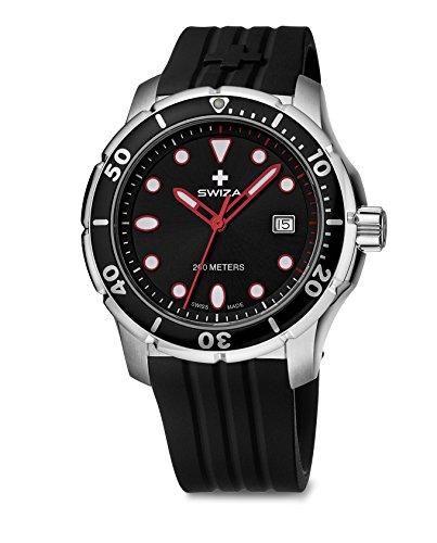 SWIZA Tetis Saphirglas Silikon-Armband Luxus Uhr, schwarz, One Size