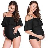 Soapow Traje de baño de maternidad de una pieza de hombro con volantes traje de baño de embarazo