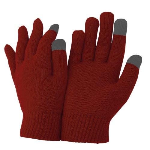 Floso - Gants magiques pour écrans tactiles et iPhone, iPad - Adulte unisexe (Taille unique) (Rouge foncé)