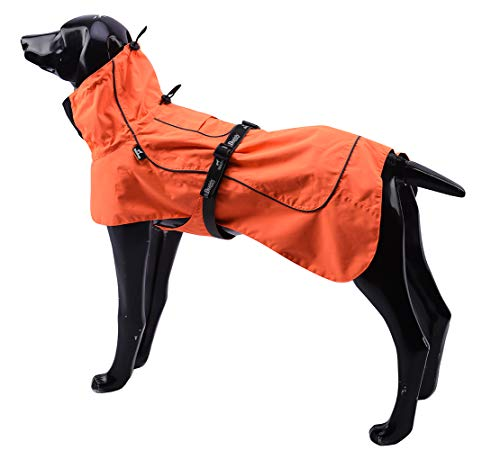 Tellpet Dog Jacket Waterproof Dog Raincoat, Orange, X-Large