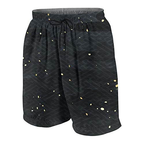 AMIGGOO Troncos de natación de los Hombres,Patrón japonés Negro,Trajes de baño de Ropa de Playa Trajes de baño Shorts de baño Trajes de baño de Malla y Bolsillos