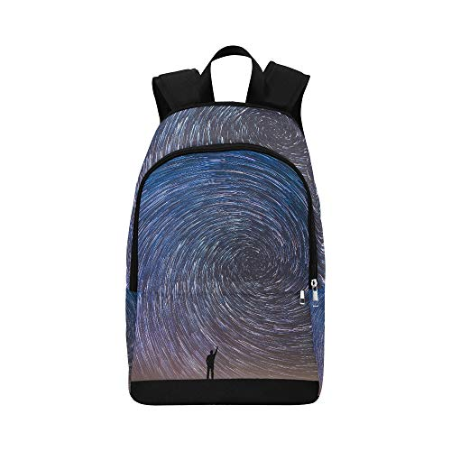 Man Pointing North in A Spiral Star Trail Casual Daypack Travel Bag College School Backpack for Mens and Women