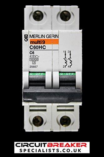 Merlin Gerin 25657 - Disyuntor de circuitos de Doble Polo, 6 A, Tipo C, 10 kA