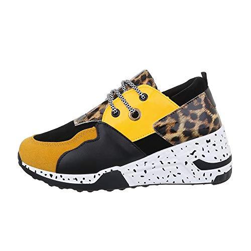 Ital Design Damenschuhe Freizeitschuhe Sneakers Low Synthetik Gelb Schwarz Gr. 39