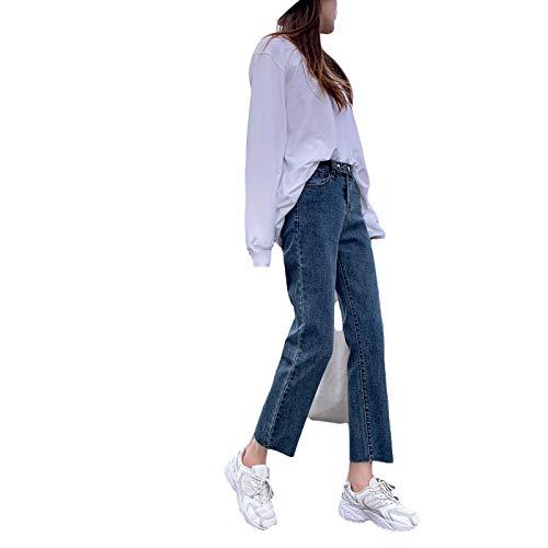 Luandge Pantalones Vaqueros de Pierna Recta de Cintura Alta para Mujer, Ropa de Calle Informal Relajada, Pantalones de Mezclilla con Bordes crudos Retro Lavados y Combinados M