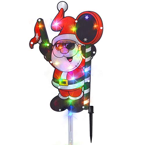 JOYIN 25' Tall Christmas Light-up Santa Claus with Merry Christmas Sign for Holiday Outside Yard Decorations Stakes