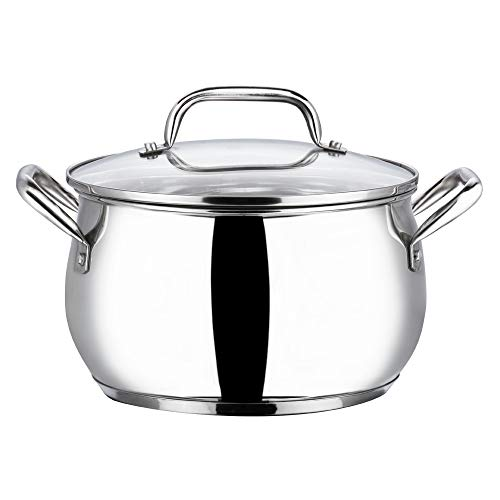 Vinod Stainless Steel Almaty Casserole with Glass lid -16 cm, 2 Ltr (Induction Friendly)