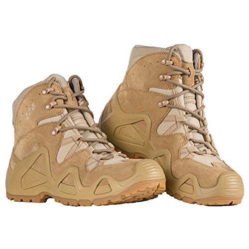 FREE SOLDIER Botas tácticas de Tiro Medio Alto Zapatos de Trekking de Invierno Botas de Cuero, Hombre(Color Arena,44)