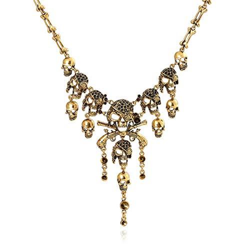Palm kloset Collar Collar Europeo y Americano Cabeza Fantasma Retro Borla Colgante Cadena Clavicular Suéter Cadena Accesorios Oro