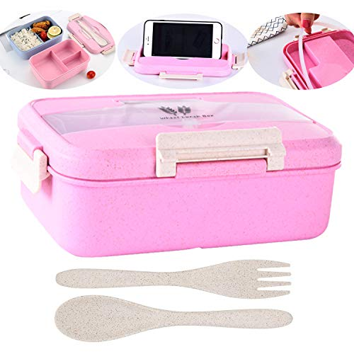 Bento Box For Kids and Adults 40 oz Eco-Friendly Wheat Fiber Lunch Box With 3 Compartment Microwave and Dishwasher Safe Leak Proof Lunch Container With Spoon Fork Pink