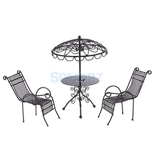 MMI-LX LYRONG 1/12 Escala pequeña para jardín al aire libre, playa, piscina, mesa y silla de metal, 2 colores para decoración de muebles de casa de muñecas, juguete (color: blanco)
