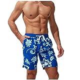 Pantalones Cortos Hombre de Playa con Estampado Shorts Hombre Verano con Cordón Ajustables Pantalon Corto Hombre Deporte con Bolsillos Laterales Pantalones Cortos Hombre Verano