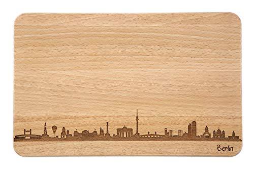 SNEG Brotzeitbrett Berlin Skyline | Frühstücksbrettchen aus Buche | Holz Schneidbrett | Geschenk mit Gravur | Frühstücksbrett (Standard S (22x14x1cm), 1. ohne persönlicher Gravur)