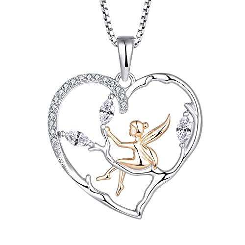 FJ Collar con colgante de ángel de la guarda de plata de ley 925 con circonita cúbica, regalo para mujeres y niñas