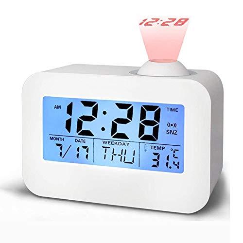 QYYL Despertador Proyector, Reloj Despertador Digital, Pantalla LED 12/24 Hora, Snooze,Termómetro Interior, Ajuste de Tiempo Manual (12.4x5.4x8.7cm)