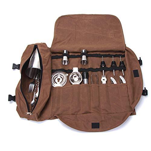 Bartender Kit Tote Bag, Large Barware Set Roll Bag, Cocktail Making Tool Set Bag, Portable Bar Case Bag, Cocktail Accessories Kit Roll Pouch,Multi-Funtion Barware Set Storage Case (Brown)