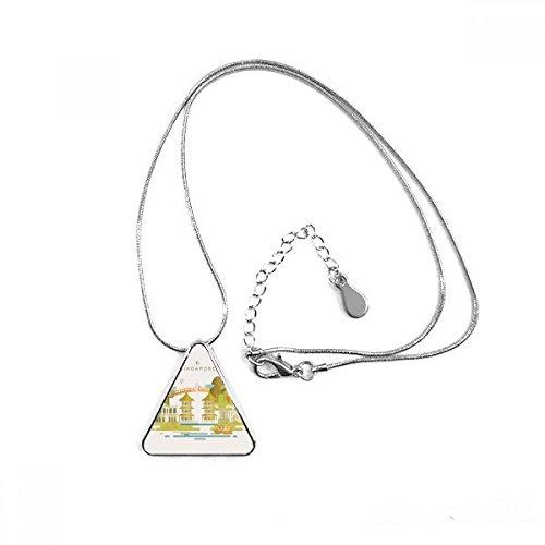DIYthinker Singapur Traditionelle Pagode Landmark Triangle Form Anhänger Halskette Schmuck mit Kette Dekoration Geschenk