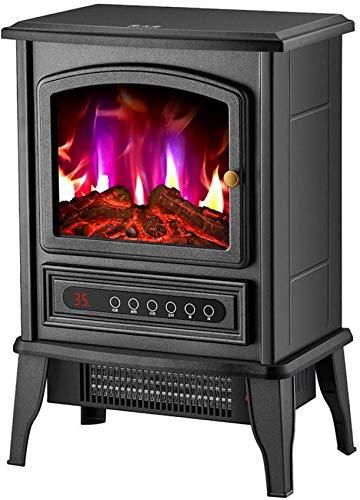 KAUTO Calefacción de Estufa eléctrica con Quemador de leña Efecto Llama - Chimenea de pie 2000W con Estufa de leña Luz LED mecánica