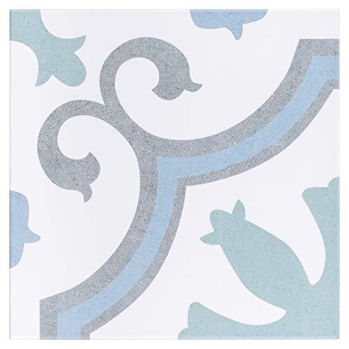 SomerTile FCD10LAQ Lacour Aqua Encaustic Porcelain Floor and Wall Tile