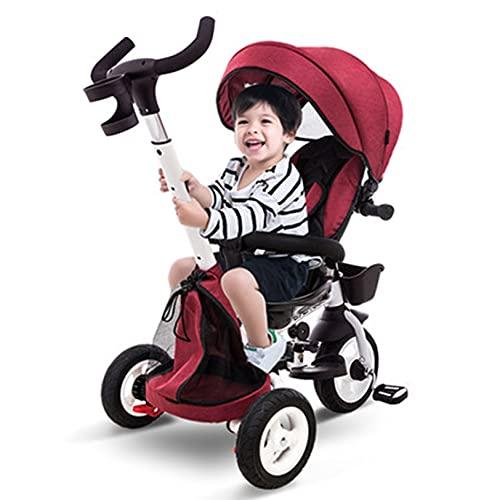 GUORZOM Portatile Piegato per Bambini Triciclo, Bambini Passeggino Triciclo Insieme a Regolabile Maniglia di Spinta, Rimovibile Baldacchino, per 1-5 Anni,Rosso