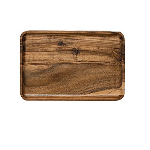 1 unids acacia madera sirviendo bandeja cuadrado rectángulo desayuno sushi bocadillo pan postre pastel plato con fácil transporte ranurado (Color : XL Rectangle)