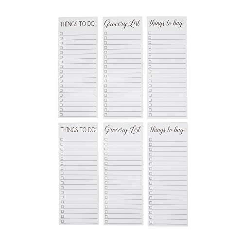 Bloc de Notas Magnético (Paquete de 6) - Lista de tareas, Lista de cosas que comprar, Bloc de notas magnético para lista de la compra, 60 hojas para notas