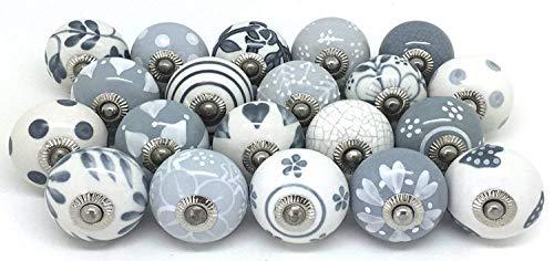 Knauf für Schrank, Schublade, aus Keramik, handbemalt 20 Stück Grey & White griffe küche möbel türgriffe schrank knöpfe schrankgriffe knauf keramik grau