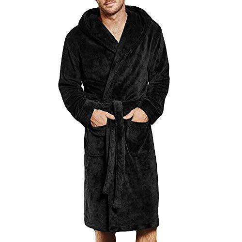 Dasongff badjas voor heren, ochtendjas met capuchon en riem, lange mouwen, saunamantel voor sauna XXXXXL zwart