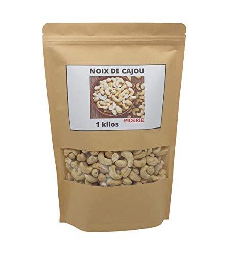 Noix de Cajou - 1kg - Décortiquées - Non Salées - Non Grillées - Sans Additifs - Sac Refermable