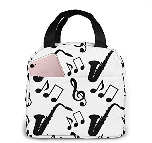 Bolsa de almuerzo para saxofón con notas musicales y clave de sol para mujeres,niñas,niños,bolsa de picnic aislada,bolsa gourmet,bolsa cálida para el trabajo escolar,oficina