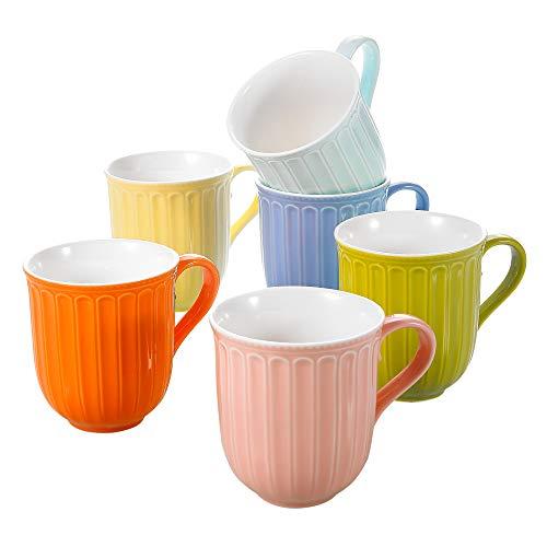 Panbado 6 * Tazas de Cerámica de Café / Té de 6 Colores Juego de Tazas de Porcelana Vasos de Agua / Leche para Hogar, Fiesta, Oficina, 310 ml (12 * 8,8 * 9,7 cm), Regalo para Cumpleaños, Festival