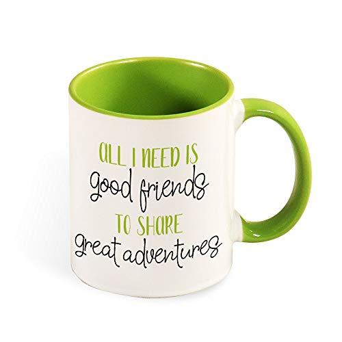 Grappige Koffie Thee Mok Quote Gekleurde Melk Cup met Hand Alles wat ik nodig heb is Vrienden Gedrukt Ontwerp Vakantie Verjaardagscadeau voor Vriend Familie Kinderen Lover Colleague 11oz l5yys21dxfcs 11oz Groen-2